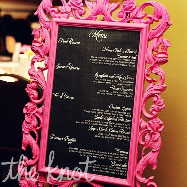 Hot-pink Framed Menu Wedding Reception Pinterest Hot pink - salon price list
