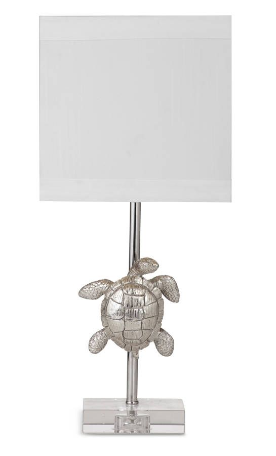 Silver Leaf Resin Glass Shade Turtle Lamp