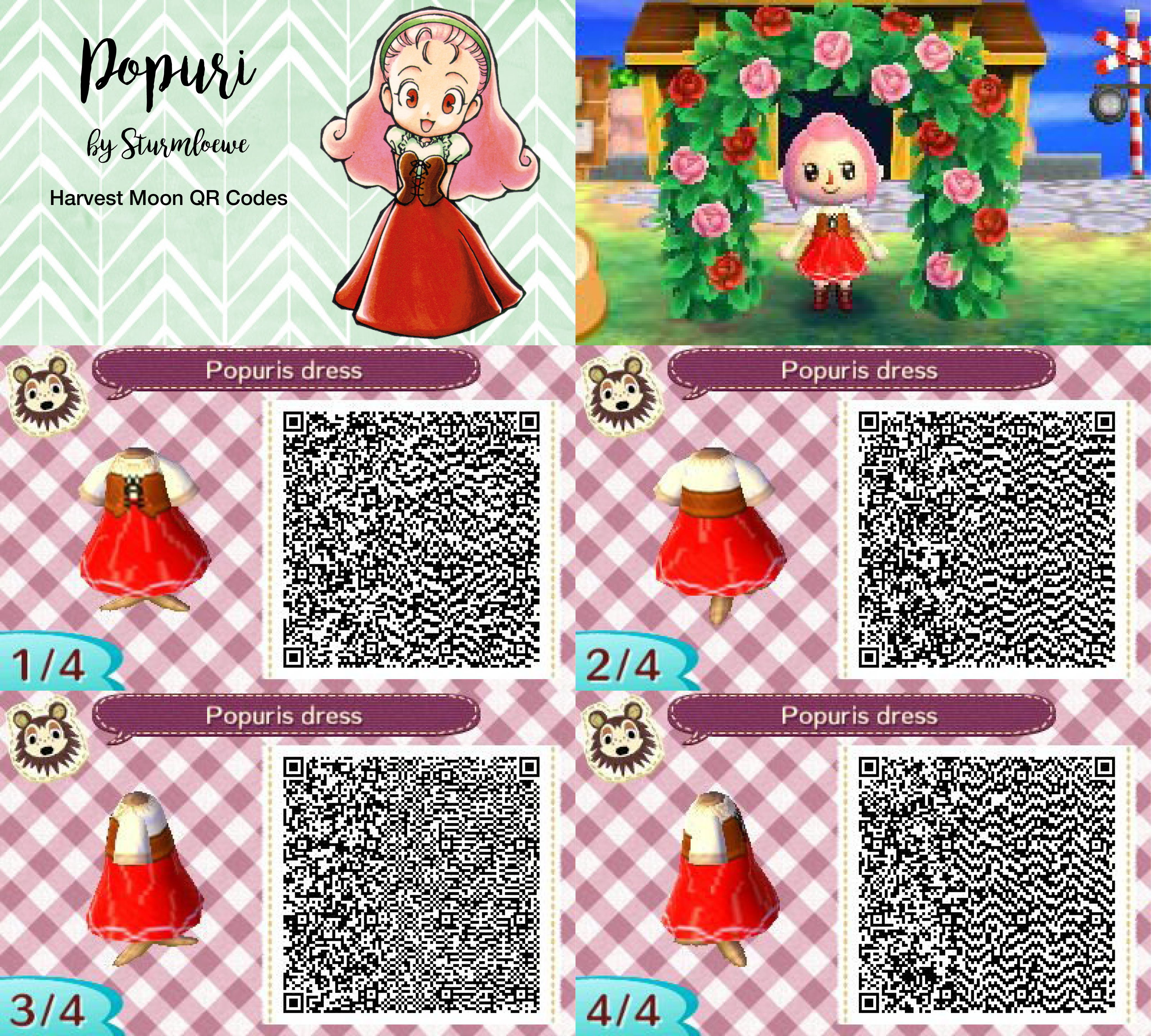 Harvest moon Popuris dress for Animal crossing new leaf Populist qr code