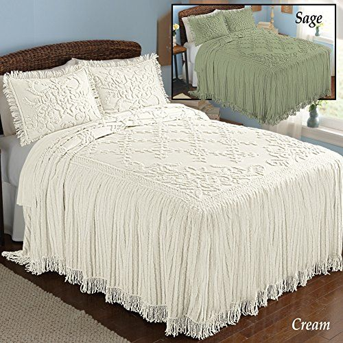 cottage charm floral lattice chenille bedspread cream queen cotton http