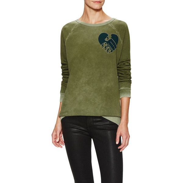 Free City All For Love Crewneck Sweatshirt ($108) ❤ liked on Polyvore featuring tops, hoodies, sweatshirts, green, long sweatshirt, green sweatshirt, long tops, graphic crew neck sweatshirts and sweat shirts