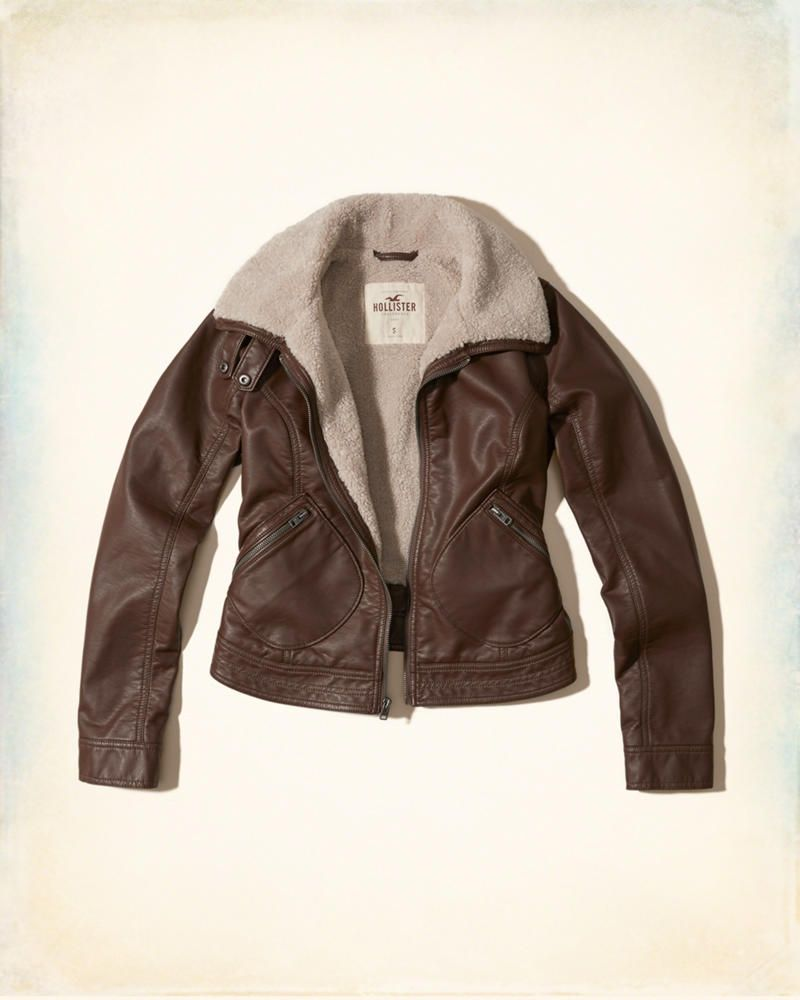 Girls Sherpa Lined Vegan Leather Jacket Girls New Arrivals Hollisterco Com Leather Jacket Girl Brown Faux Leather Jacket Outerwear Jackets [ 1000 x 800 Pixel ]