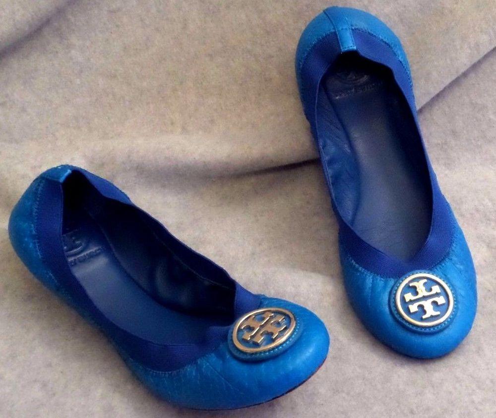 e114879d2550 Tory Burch Caroline Blue Leather Ballet Flats with Gold Emblem Womens Size  7 M  ToryBurch  BalletFlats