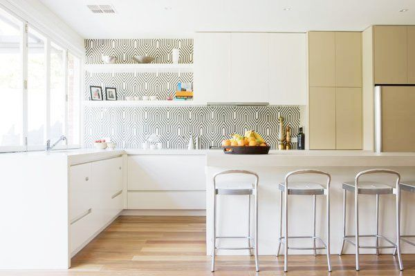 Charming Backsplash Created Using Wallpaper With Glass/plexi Installed On Top. Also,  Definitely Into