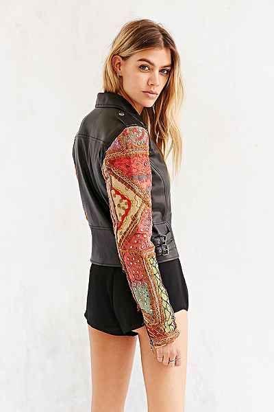 Ecote Embellished-Sleeve Vegan Leather Jacket - Urban Outfitters