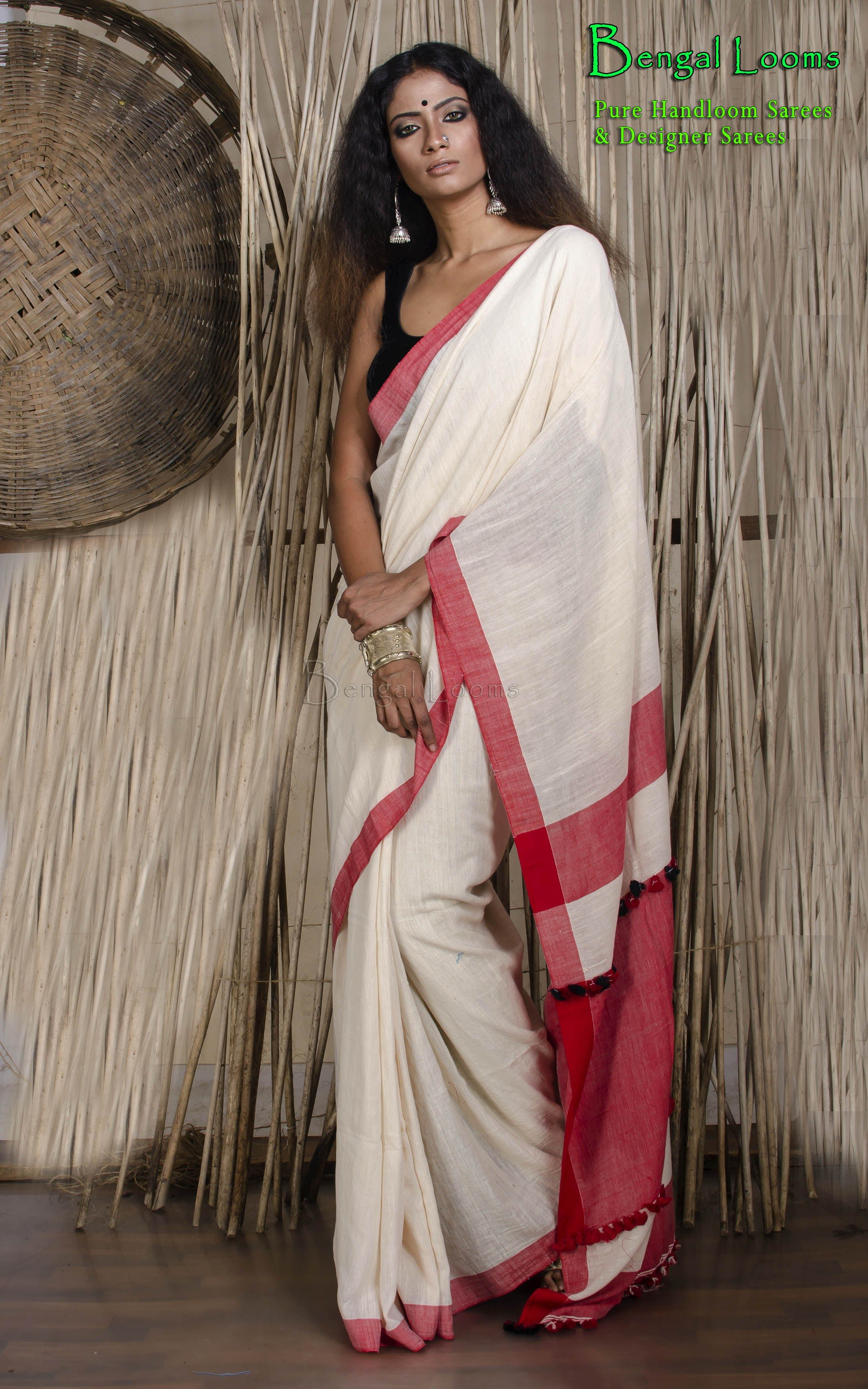 a085f952a2 Pure Handloom Khadi Soft Cotton Saree in Off White and Red | The ...