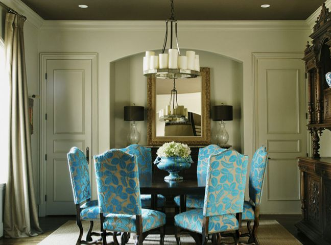 I Love The Chairs Being The Accent Color In The Room Turquoise Dining Room Home Interior Design