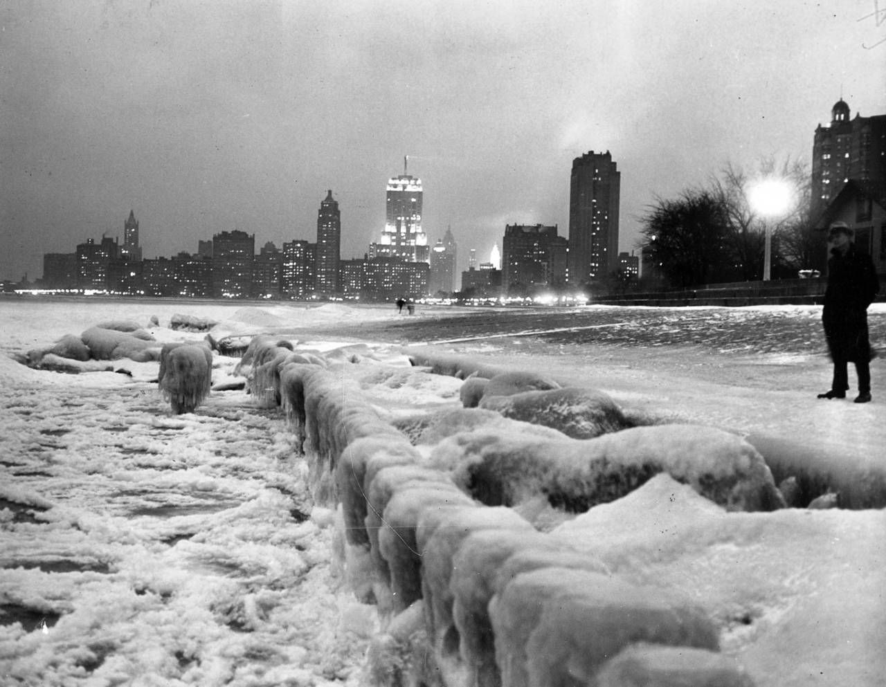 Looking south from North Avenue on the shore of Lake Michigan, the ice provides evidence of the cold weather. Temperatures dropped to 10 abo...