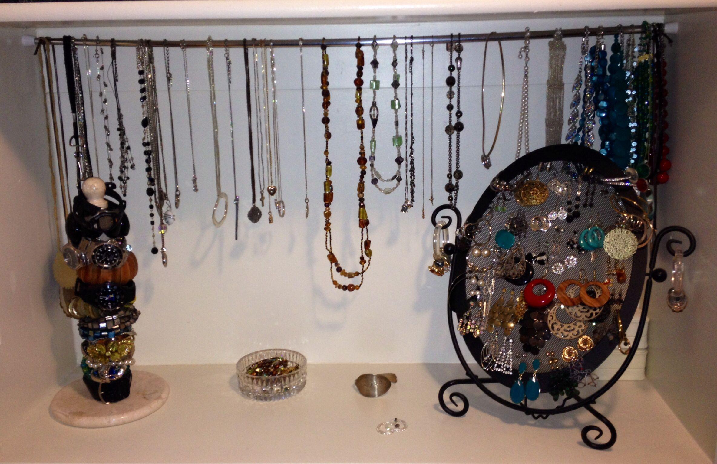 Diy Jewelry Organizer Shelf, Tension Rod Necklace Hanger, Paper Towel