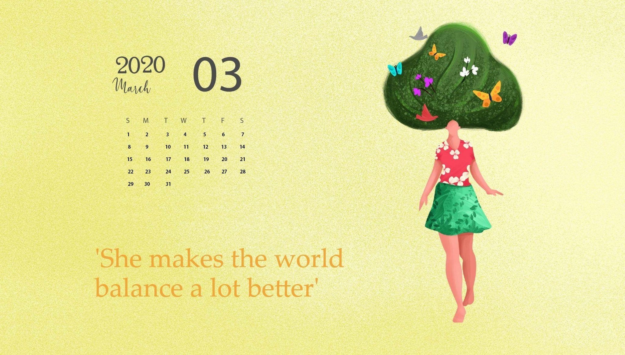 March 2020 Calendar Wallpaper Desktop and iPhone in 2020
