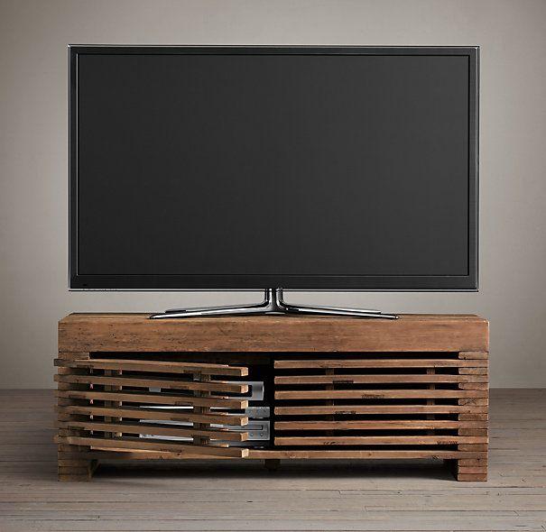 Restoration Hardware Entertainment Center: Reclaimed Timber Slat Media