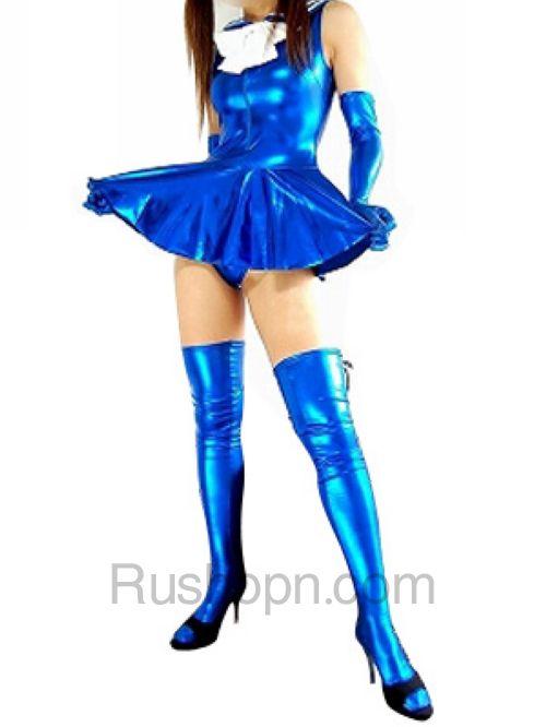 5e9e56253b27 Blue Shiny Metallic Bowknot Mini Skirt Suit | Zentai Suit
