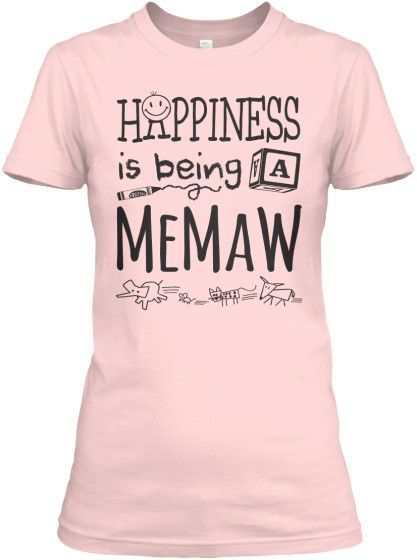 HAPPINESS IS BEING A MEMAW DARK PRINT ~ V-Neck and Women's Tees