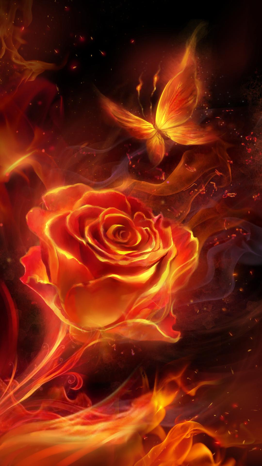 Fiery Rose And Butterfly Flame Live Wallpaper Cicekli Baski Fraktal Sanati Soyut Resim Tuval