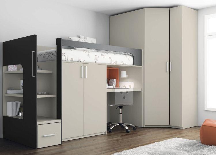 Loft-Bett mit Kleiderschrank und Schreibtisch unten ...