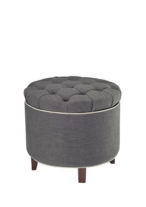 Astounding Tufted Storage Ottoman Piped Trim 60 40 Linen Poly Fabric Squirreltailoven Fun Painted Chair Ideas Images Squirreltailovenorg