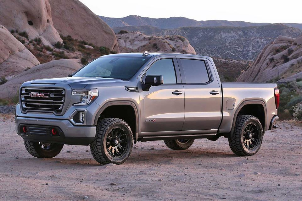 2019 Gmc Sierra At4 Equipped With A Fabtech 4 Lift Kit In 2020 Gmc Sierra Gmc Lift Kits