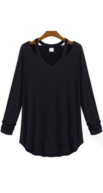 e9dc61fec2ce24 ☆Black long sleeve shirt for women