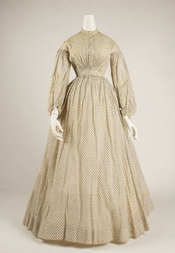 I agree with the last pinner, as the sleeves are 1850s sleeves, not 1830s at all.  >>the Met - not correctly dated  - (ca. late 1850s-60s not 1830's) - cotton fabric.