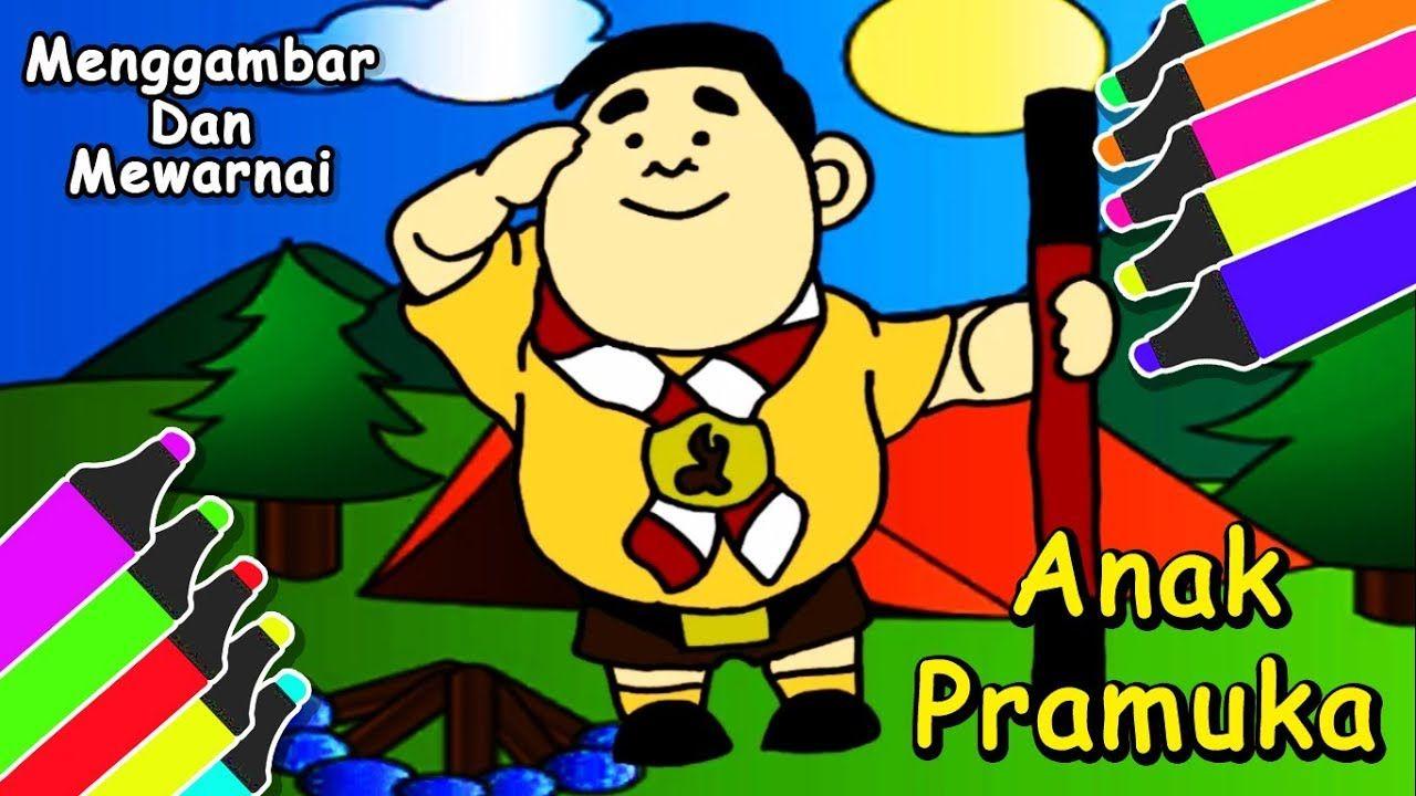 ANAK PRAMUKA Menggambar & Mewarnai Kartun Anak Pramuka