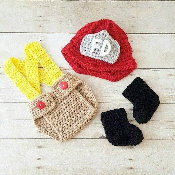 3f8dd8fa7be Crochet Baby Fireman Firefighter Set Hat Helmet Beanie Diaper Cover  Overalls Boots Shoes Infant Newborn Photography Photo Prop Shower Gift