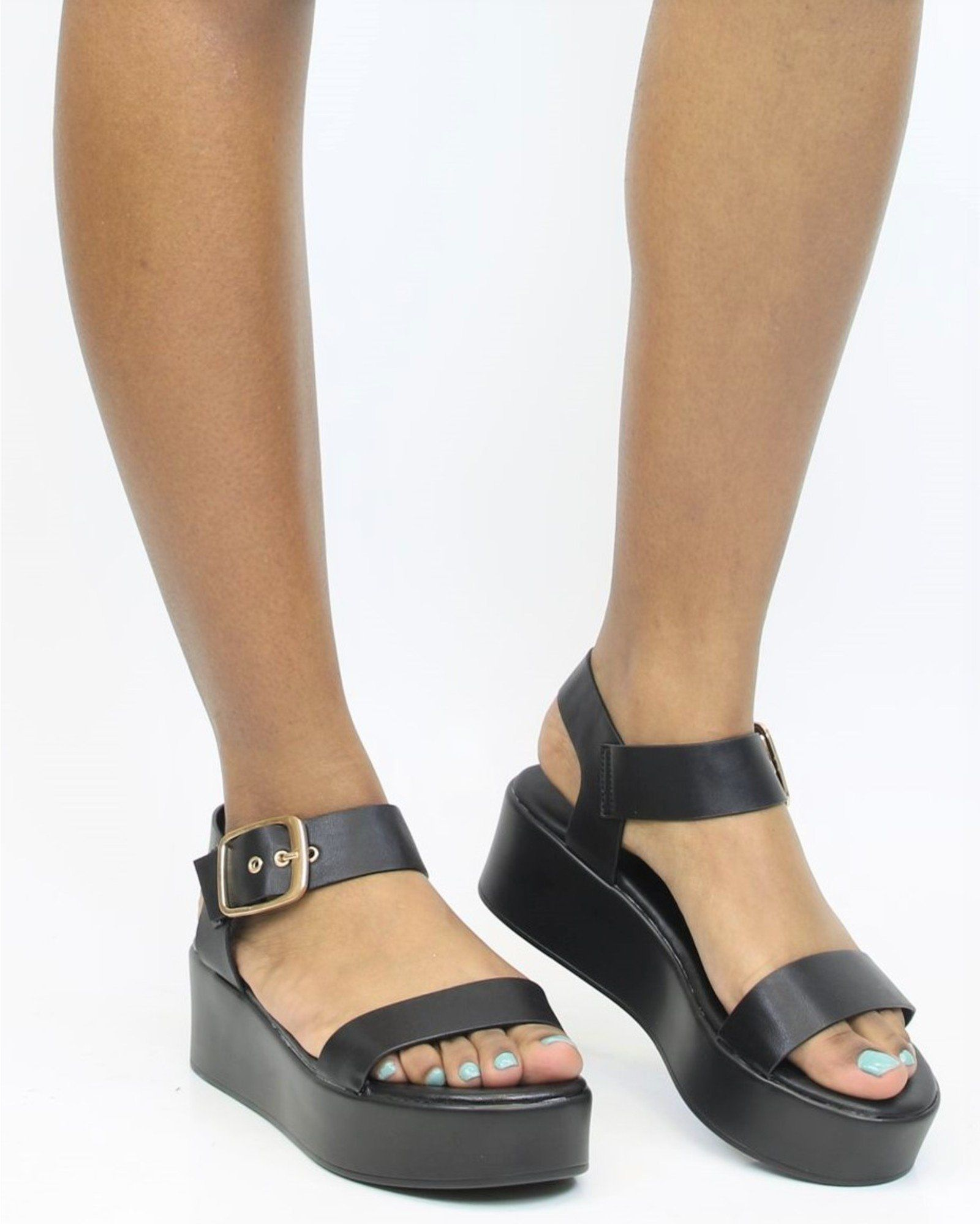 89b510d8163 Available in Black   Gold Rose Gold - Wedge Heel - Open Toe Open Back -  Ankle Strap For An Adjustable Fit - Comfort