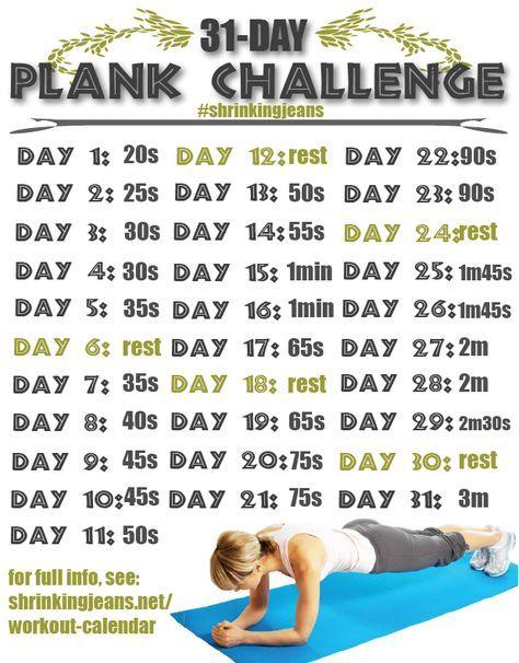 31 Day Plank Challenge Shrinkingjeans Workoutcalendar Fitnesschallenge