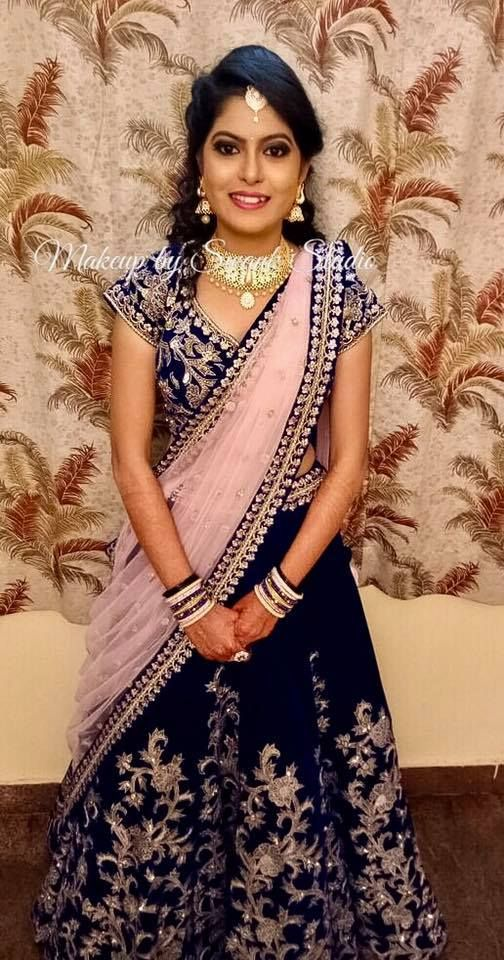Ashwini Looks Gorgeous For Her Reception In Bridal Lehenga Makeup And Hairstyle By Swank Indian Bridal Indian Bridal Hairstyles Bridal Hairstyle For Reception