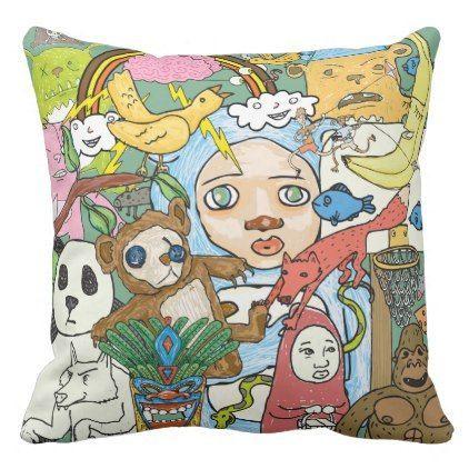 Retro-Modern Hand Draw Doodles Throw Pillow - home gifts ideas decor ...