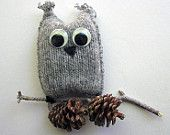 Grey owl ornament made from an upcycled sweater!