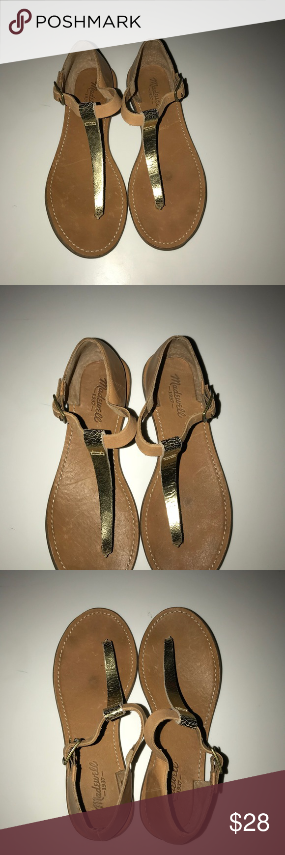 ef03eff6ac4fe1 Women s Madewell gold thong sandals size 7 Women s tan and gold madewell  1938 sandals in great condition. Really cute perfect for the beach and a  casual ...