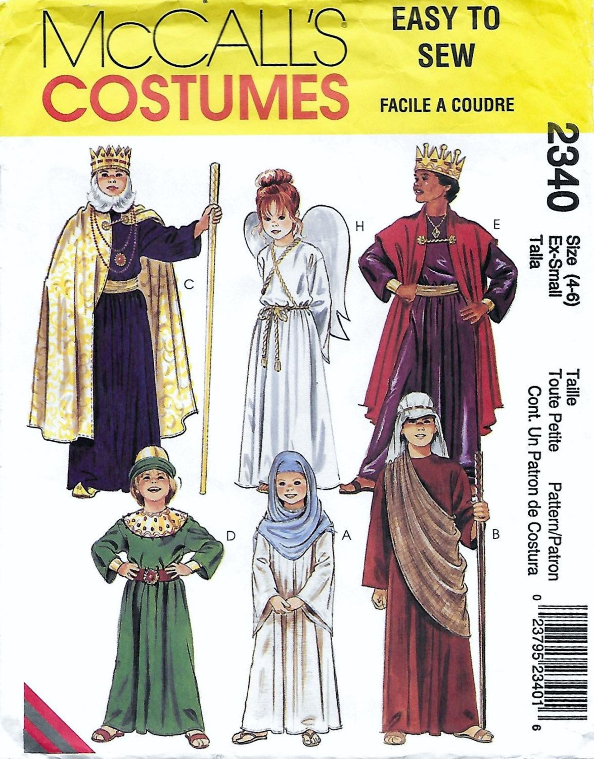 McCall\'s 2340 Child\'s Nativity Costume Sewing Pattern Shephard King ...