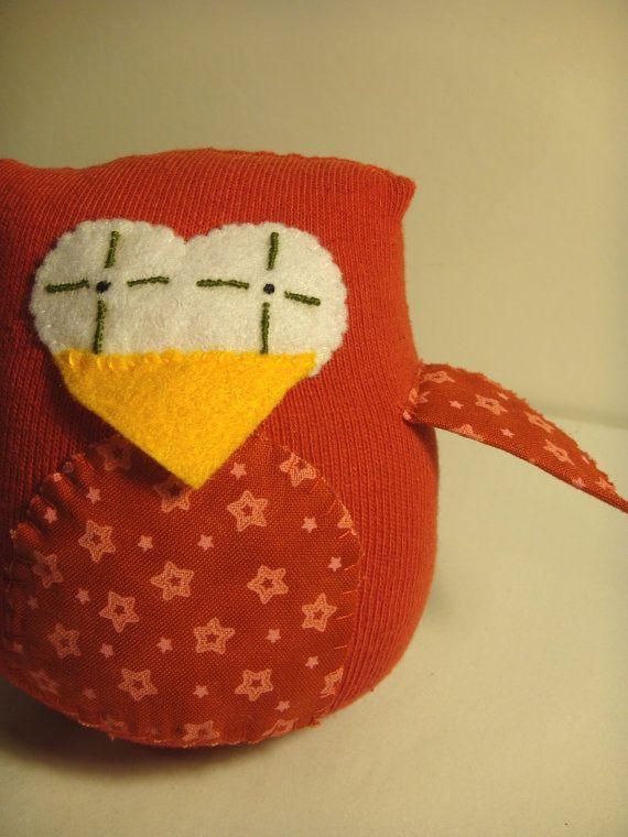 Small Red Sock Owl handmade sock animal plush by Welsheggdesigns, £4.00