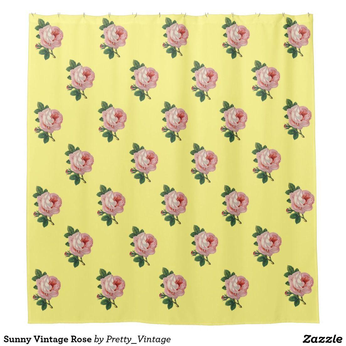 Sunny Vintage Rose Shower Curtain