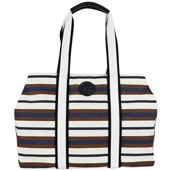 Pre-owned Tory Burch Printed Canvas Tote Robinson Stripe Raisin... ($235) ❤ liked on Polyvore featuring bags, handbags, tote bags, tan, tan tote bag, canvas tote, striped canvas tote bag, white handbags and tory burch purse