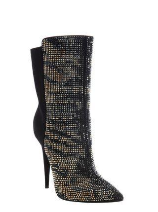 black suede stud detail heel boots