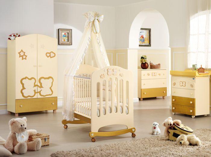 Babyzimmer mädchen gelb  Babybett mit Himmel: praktisch und gleichzeitig wunderschön ...