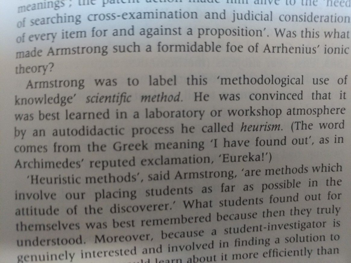 "Henry Armstrong coined ""scientific method"" in 1800s. P.413"