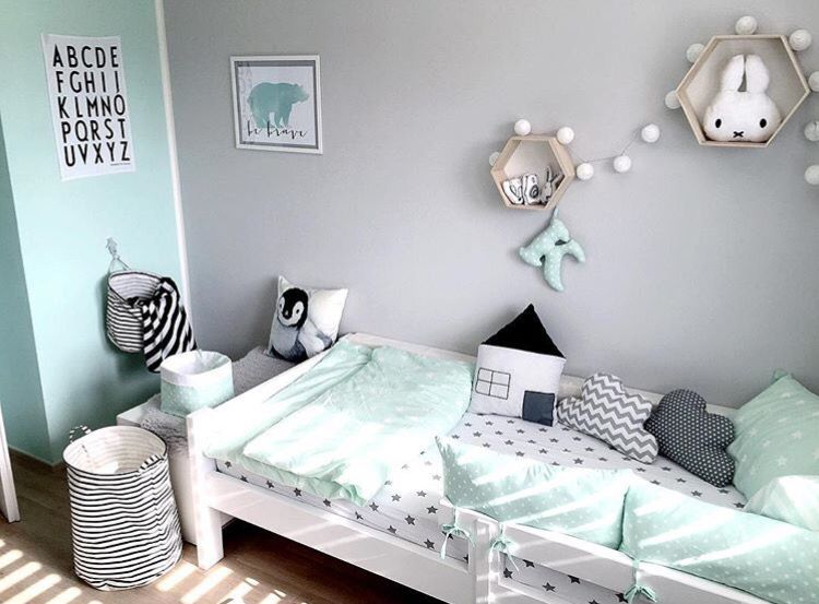 Mint Grey Black And White Craft Room
