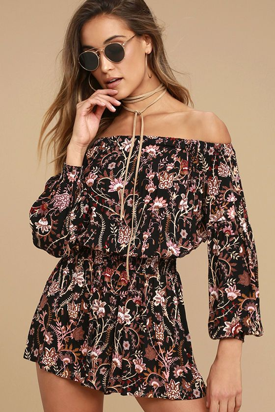0399619c0e9d Let your wild side loose in the Free People Pretty and Free Black Floral  Print Romper! Soft woven rayon features a mauve