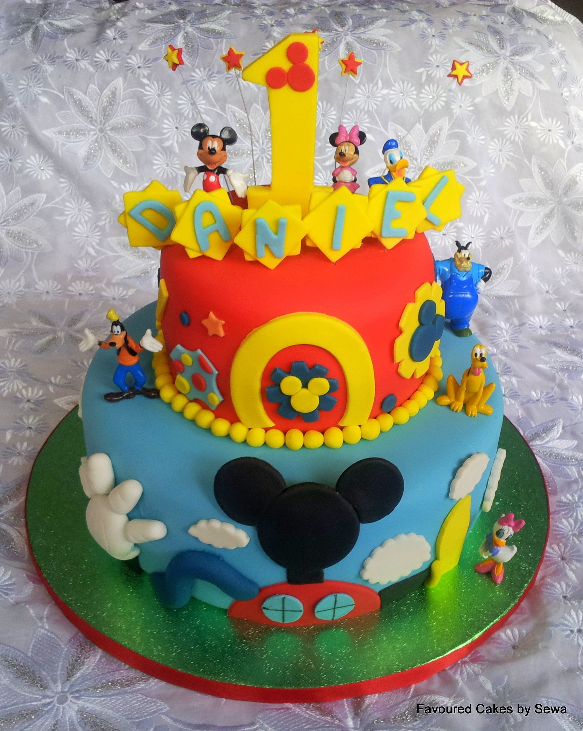 Groovy Two Tier Mickey Mouse Clubhouse Cake Mickey Mouse Clubhouse Room Personalised Birthday Cards Xaembasilily Jamesorg