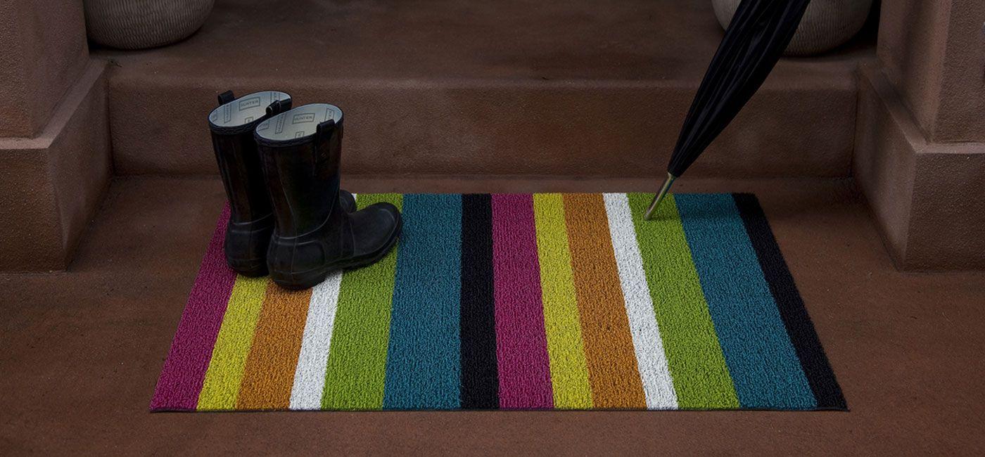 Bold Stripe Shag Mat In Multi Exterior Updates