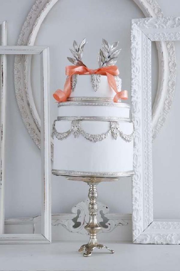 fancy silver wedding cake