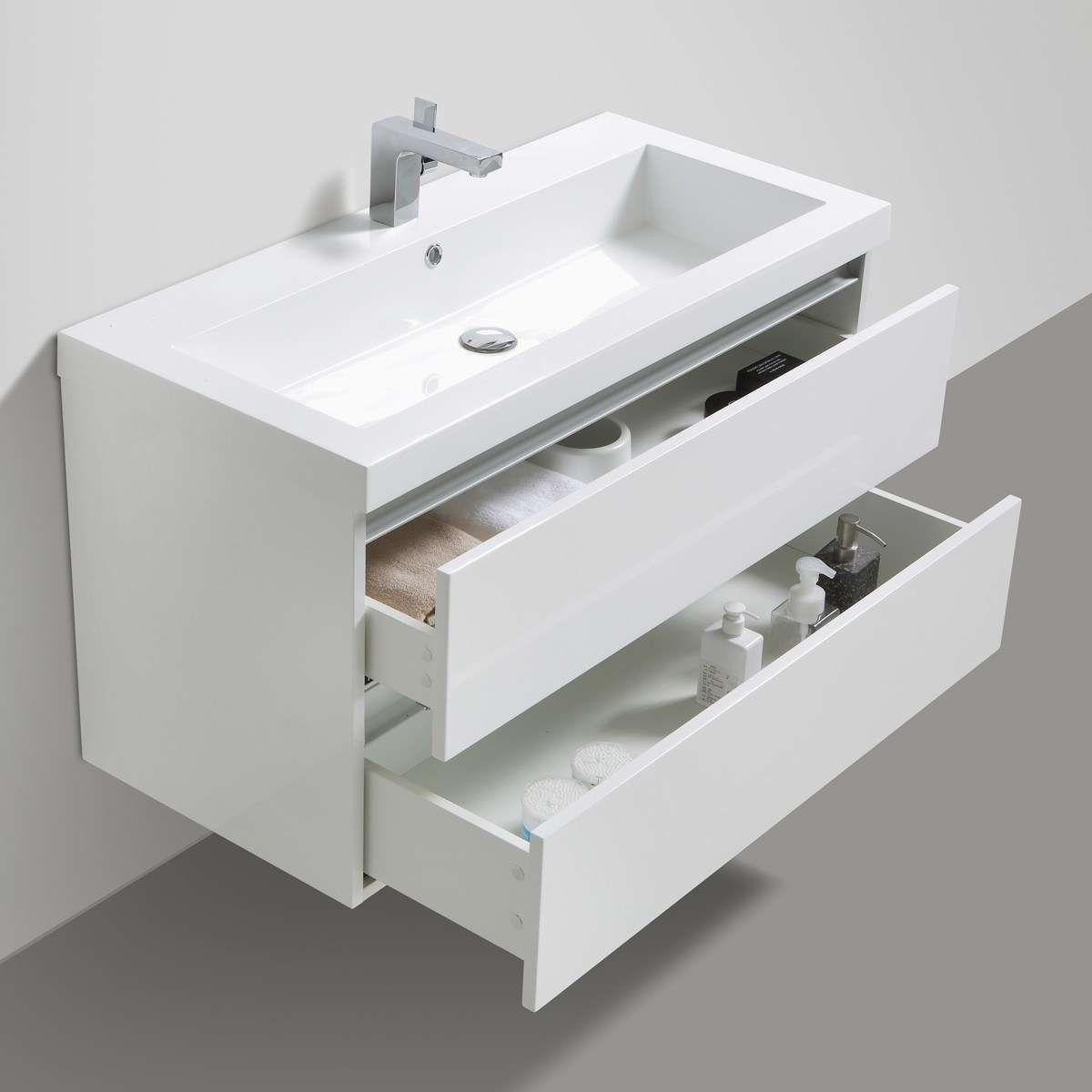 Waschbeckenunterschrank 100 Cm Breit Waschbeckenunterschrank 80 Cm Breit In 2020 Modern Bathroom Vanity Modern Bathroom Glossy White