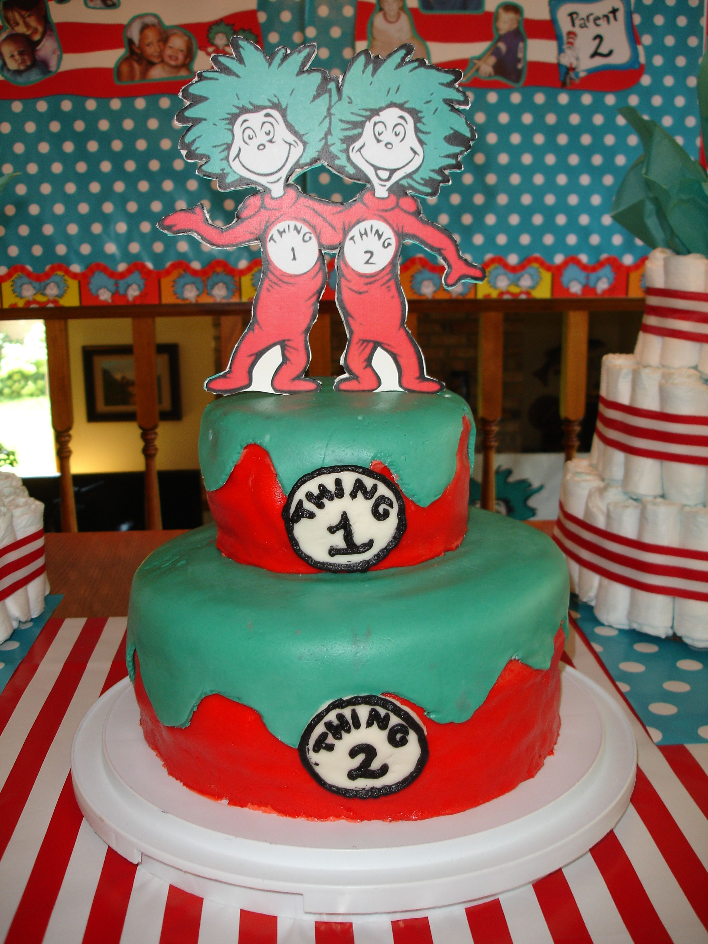 Thing 1 & Thing 2 Cake for a Baby Shower for Twins