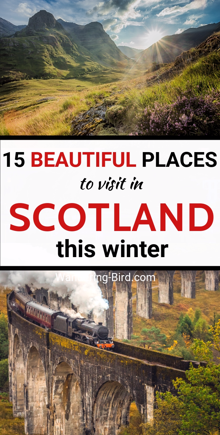 Want to travel Scotland in Winter? Here are 15 BEAUTIFUL places to add to your Scottish Roadtrip. Including Things to do in Highlands, Edinburgh, Glasgow, Isle of Skye, Harry Potter attractions and more Castles than you can possibly imagine! Scotland Travel   Things to do in Scotland   Winter in Scotland   Places to see in Scotland   Scotland Itinerary   Places to visit in Scotland   Scotland roadtrip itinerary   Scotland road trip destinations   Scotland travel ideas #scotland #travel #uktravel