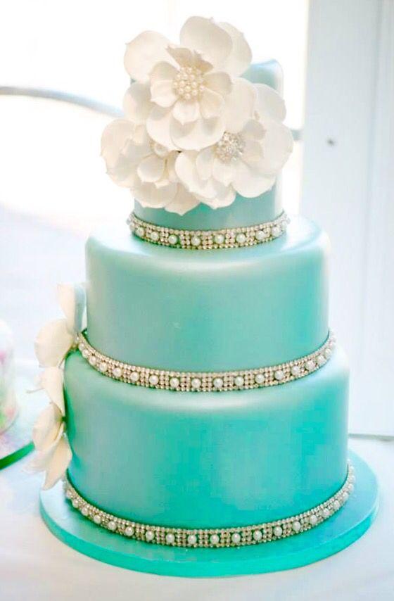 Simple And Elegant 3 Tier Tiffany Blue Wedding Cake Idea