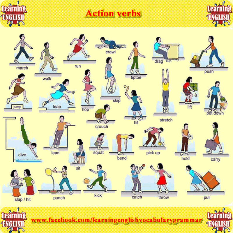 action verbs list with pictures great for kindergarten students to learn about action verbs
