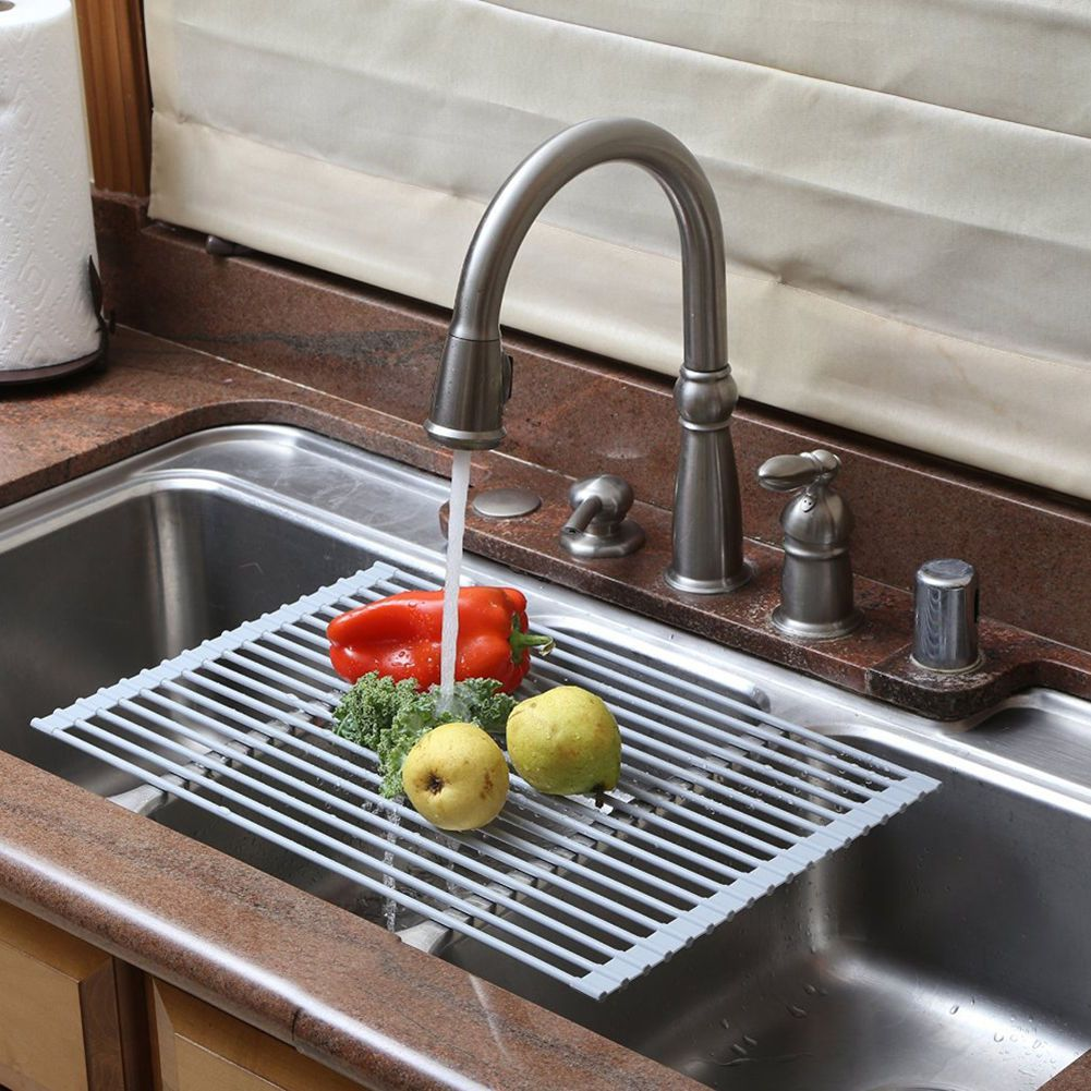 new stainless steel sink rack roll silicon handy and portable