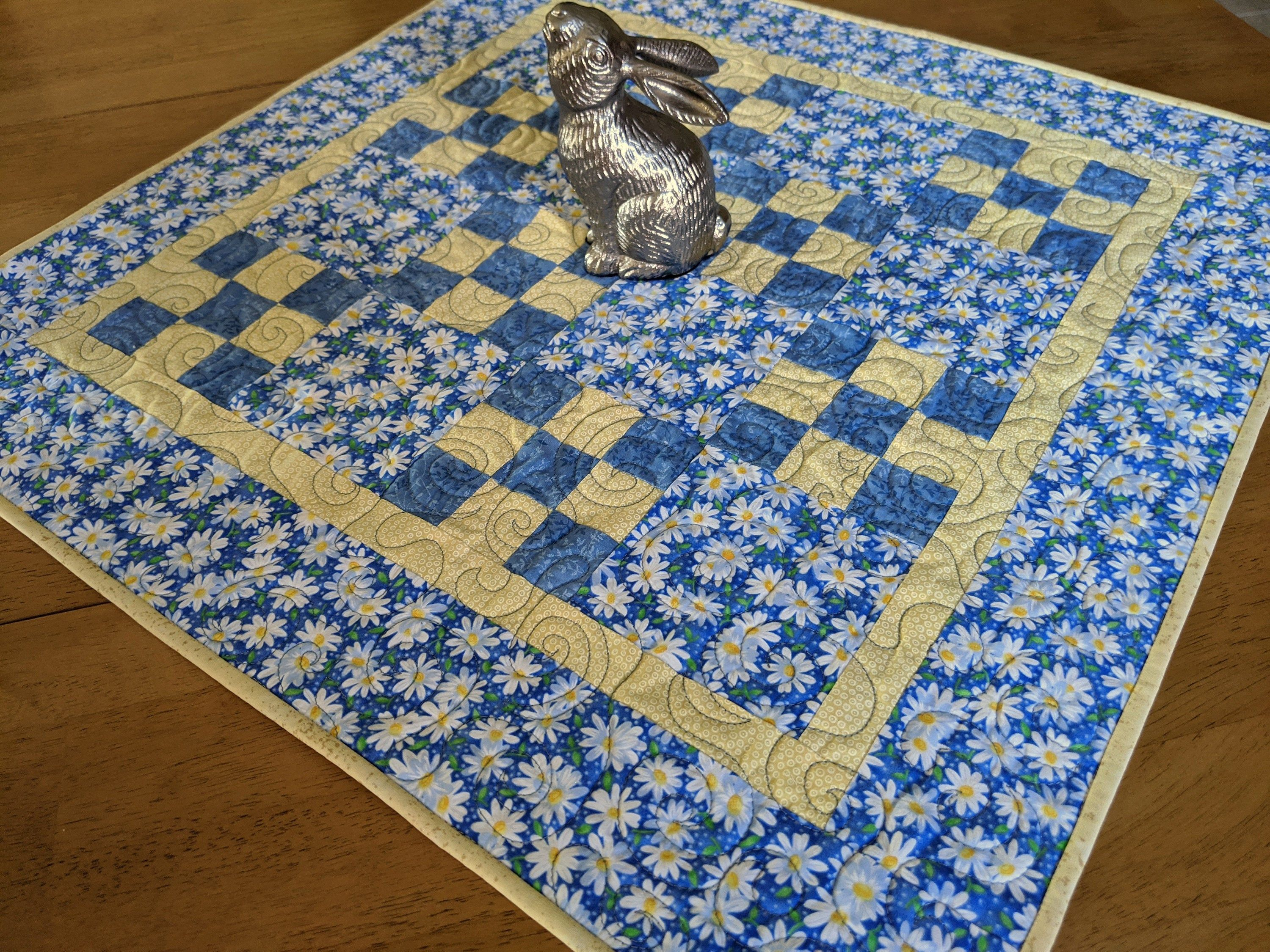 Spring Patchwork Table Topper Floral Table Topper Blue Yellow In 2020 Table Quilts Table Toppers Quilted Table Runners